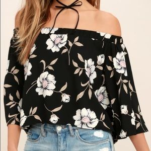 Off the shoulder top-Black Floral Print